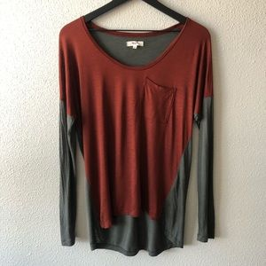 Madewell High Low Color Block Long Sleeve Sz XS